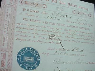 NobleSpirit (3970) 1854 Old Colony & Fall River R/R Stock Certificate
