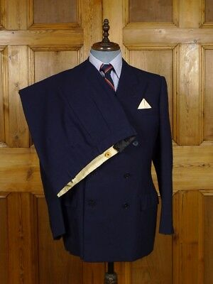 Vintage Henry Poole Savile Row Bespoke Navy Blue Worsted & Mohair D/B Suit 41