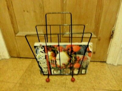 Vintage 1960s/70s black retro wire magazine rack atomic sputnik feet