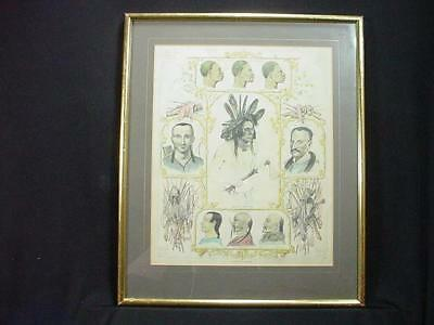 NobleSpirit {3970} Important 18th Cen. Human Race Hand Colored Engraving Framed