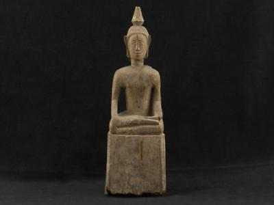 "NobleSpirit NO RESERVE 3970 Excellent 9 3/4"" Carved Wood Sitting Buddha Statue"