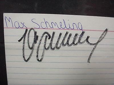 NobleSpirit NO RESERVE {3970} Signed Legendary Boxer Max Schmeling Index Card