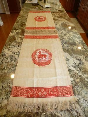 2 Antique Victorian DEER Damask WOVEN Linen TABLE RUNNERS Towels Turkey Red