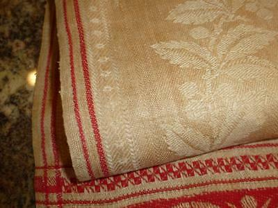 Antique PATRIOTIC Damask WOVEN Linen TABLE RUNNER Towel Turkey Red WASHINGTON