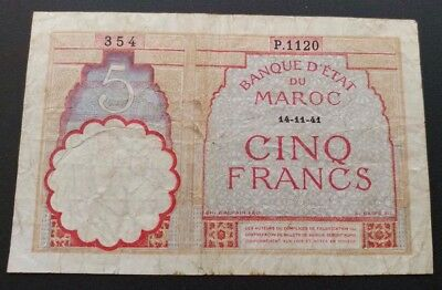 Maroc 5 Francs 1941 P23a In About Fine Condition