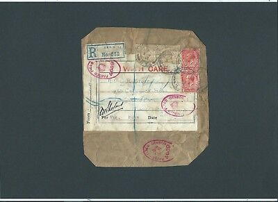 GB Military 1917 KGV 2s.2d Registered Label ARMY POST OFFICE S.34 to Manchester