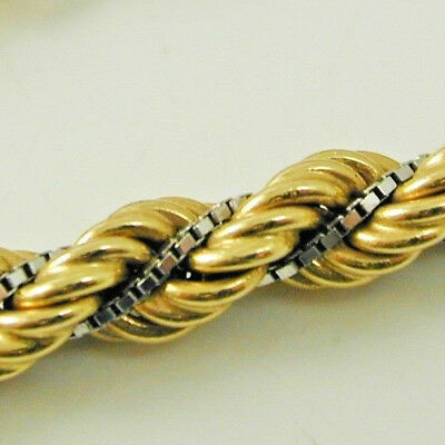 """Rope chain yellow & white 18 carat gold 16 1/4"""" long 23.8 grams"""