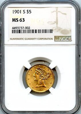 1901-S NGC MS 63 United States $5 Gold Liberty Head Coin 8.24g 90% Fine RR674
