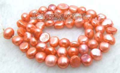 """SALE small 6-7mm Natural Red Freshwater BAROQUE Pearl Loose Bead 14""""-lo465"""