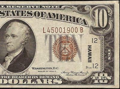 1935A $10 TEN DOLLAR BILL WWII WW2 HAWAII FED NOTE CURRENCY PAPER MONEY Fr 2303