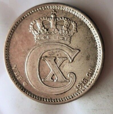1918 DENMARK 10 ORE - Low Mintage - HIGH VALUE SILVER Coin - Lot #118
