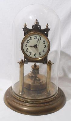 "Superb Antique German ? Brass Anniversary Clock with Dome 12"" Height"