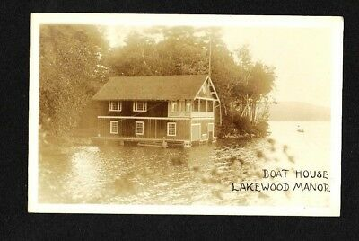 1930 Nh Rppc Boat House Lakewood Manor Inn Lake Sunapee Nh Real Photo Postcard