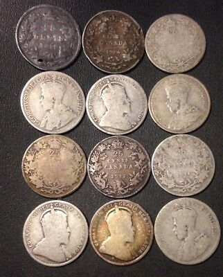 Old Canada Silver Coin Lot - Quarters - 1872-1919 - 12 Coins - Scarce - Lot #118