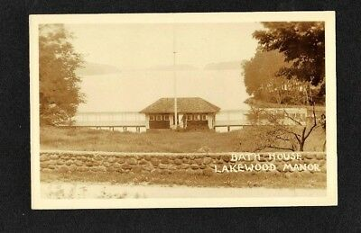 1930 Nh Rppc Bath House Lakewood Manor Inn Lake Sunapee Nh Real Photo Postcard