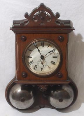 Superb Antique Junghans ? Wooden Cased Thunder Alarm Wall Clock Two Bells