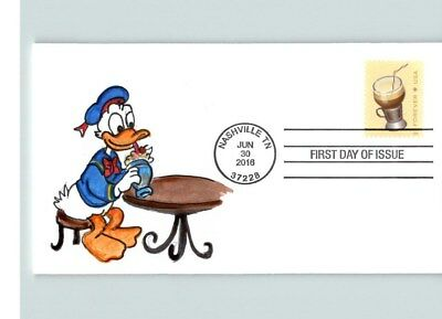 SODA FOUNTAIN FAVORITES, Hand Painted DONALD DUCK, Ice Cream Soda # 1 of 1 FDC