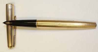 Authentic Parker 61 Fountain Pen Two Jewel 12K Gold Capillary Filler USA Vintage