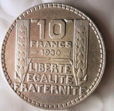 1930 FRANCE 10 FRANCS - AU High Grade - Strong Value Silver Coin - Lot #118