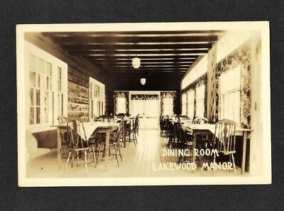 1930 Nh Rppc Dining Room Lakewood Manor Inn Lake Sunapee Nh Real Photo Postcard