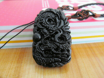 Healthy Healing Stone needle Carved Dragon Pendant Necklace amulet X43
