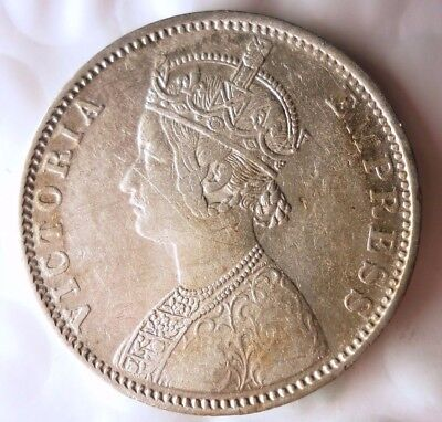 1901 BRITSH INDIA RUPEE - RARE - Excellent Silver Coin - Lot #118