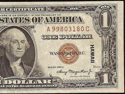 1935 A $1 Dollar Bill Wwii Ww2 Hawaii Silver Certificate Note Currency Money