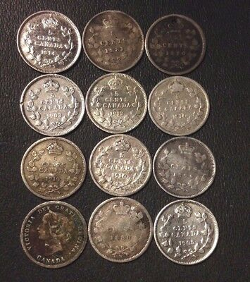 Old Canada Silver Coin Lot - 5 CENT - 1870-1912 - 12 Coins - Scarce - Lot #118
