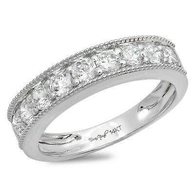 e387c704e9 0.8ct Round Cut Designer Bridal Petite Wedding Anniversary Band 14k White  Gold