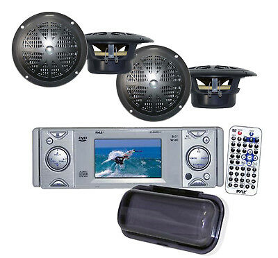 "4 x-4"" Marine Speakers PLDMR3U Marine Yacht DVD/CD Receiver with a 3"" Monitor"