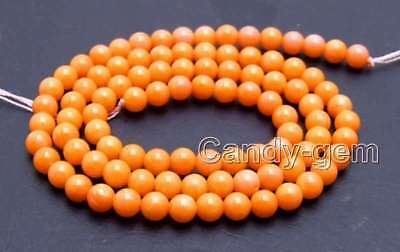 """SALE small 4-5mm Orange Natural Round coral Loose Beads strand stra 15"""" - los658"""