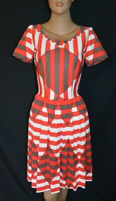 Fantastic Vintage 60s REtro Mod Mid Century Print Full Skirt Dress ~ S