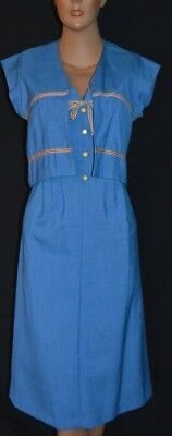 Cute NOS NWOT Vintage 70s Blue Dress & Jacket Set ~ S