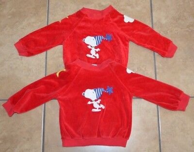 Lot 2 Vintage Red SNOOPY Children's Baby Long Sleeve Shirts