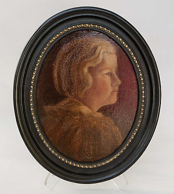 """Antique Framed Oval Victorian Childs Portrait , Oil on Board 18"""" x 15"""""""