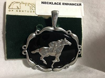 Finishing Touch Of Kentucky-Horse And Jockey Pendent  Black Onyx Silver Tone