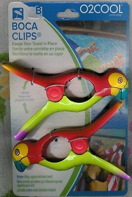 Parrot Boca Clips ~ Keep Your Beach Towel In Place!  ~ Set Of 2 ~Cute ~New ~Lqqk