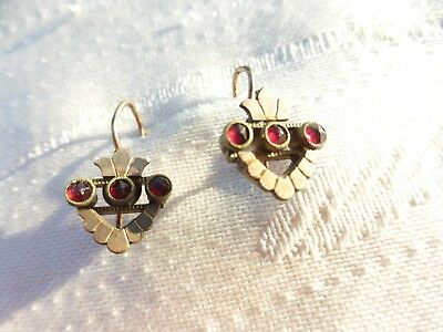 BEAUTIFUL Antique Victorian Rolled Gold RUBY HEART Crown Earrings Lovely on