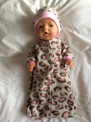 "Doll clothes - Sleeping Bag & hat to fit 17"" Baby Born DOLL - Leopard. Pink"