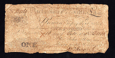 UK Great Britain Dartmouth General Bank  Pound 1822 Note Outing 639b RARE
