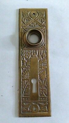 Beautiful Ornate bronze Eastlake Door Knob escutcheon plate Hardware Antique vtg