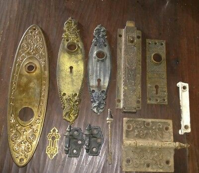 LOT OF Victorian Door Knob escutcheons plates hinges catch bronze Hardware vtg