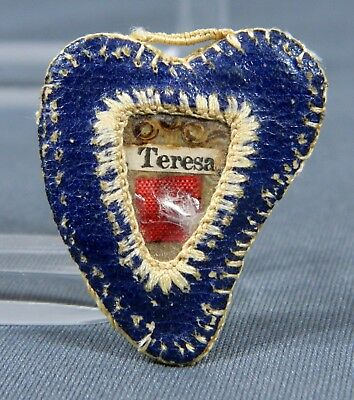 St. Therese of the Child Jesus Handmade Heart Reliquary, Cloth Relic, Vintage