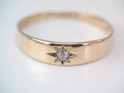 Antique Victorian 14K Gold European Cut Diamond Band Ring $9.99