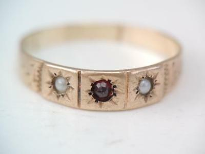 Antique Victorian 10K Rose Gold Bohemian Garnet & Seed Pearl Band Ring $9.99