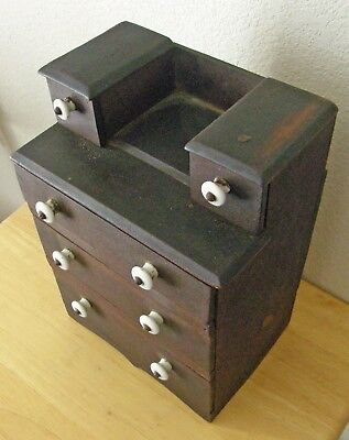 Antique Child's 12 Inch Tall Hand-Made 6 Drawer Wooden Chest 8 Porcelain Knobs