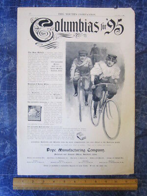 1895 The Youth's Companion Columbia Bicycles Advertising Piece Bicycle hj3345