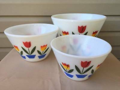 3 Vintage Fire King Splash Proof Tulip Mixing/Nesting Bowls
