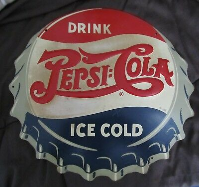 1930's Pepsi Cola Bottle Cap Sign, Original