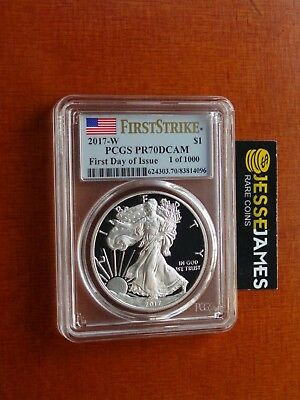 2017 W Proof Silver Eagle Pcgs Pr70 Dcam Flag First Day Of Issue 1 Of 1000 Nr!